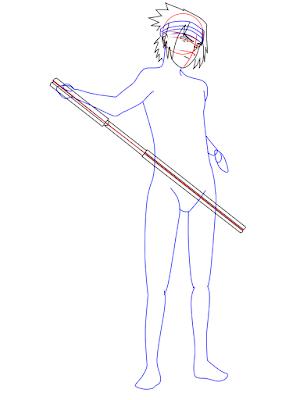 menggambar sasuke uchiha black costume langkah 12