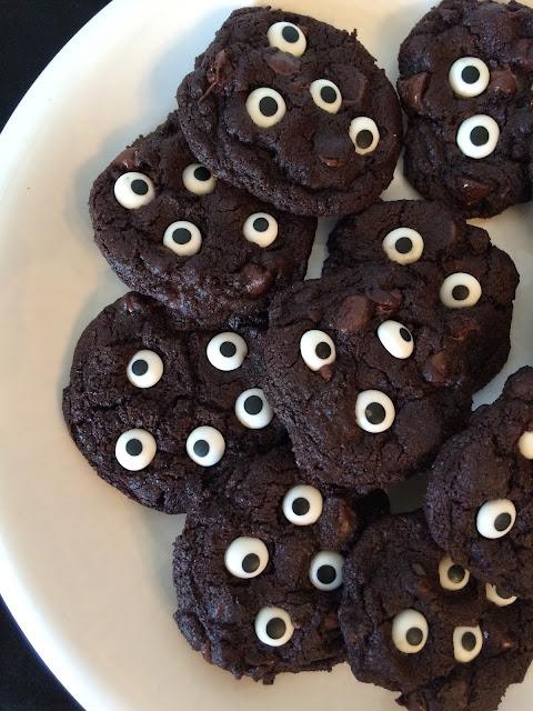 Plate of spooky double chocolate eyeball cookies.