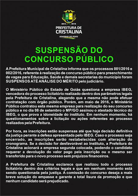 Suspensão do concurso da prefeitura de Cristalina
