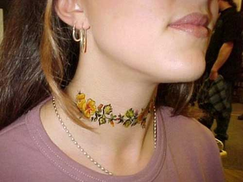 flower neck tattoo for woman