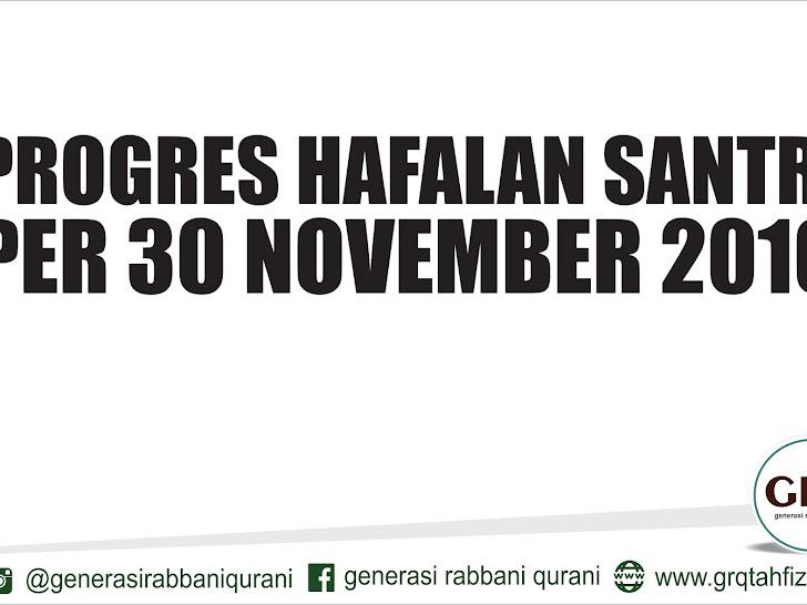 Progres Hafalan Santri Per 30 November 2016