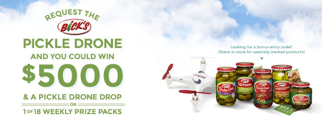 Bick's wants residents of Canada to request the PICKLE DRONE and doing so could win you $5000 CASH plus a pickle drone drop or 1 of 18 weekly prize packages!