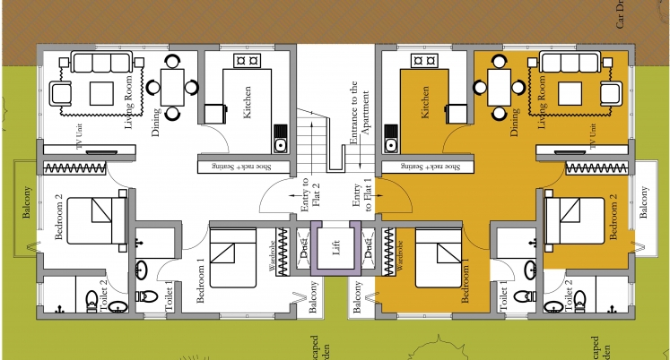 Home plans in india apartment building design ab 3001 for Typical house design