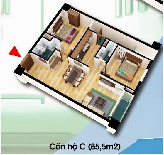 Căn hộ loại C - Chung Cư D2 CT2 Linh Đàm diện tích 85.5 m2
