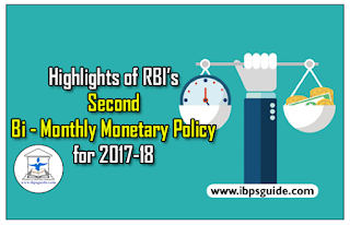 Highlights of RBI's Second Bi - Monthly Monetary Policy for 2017-18