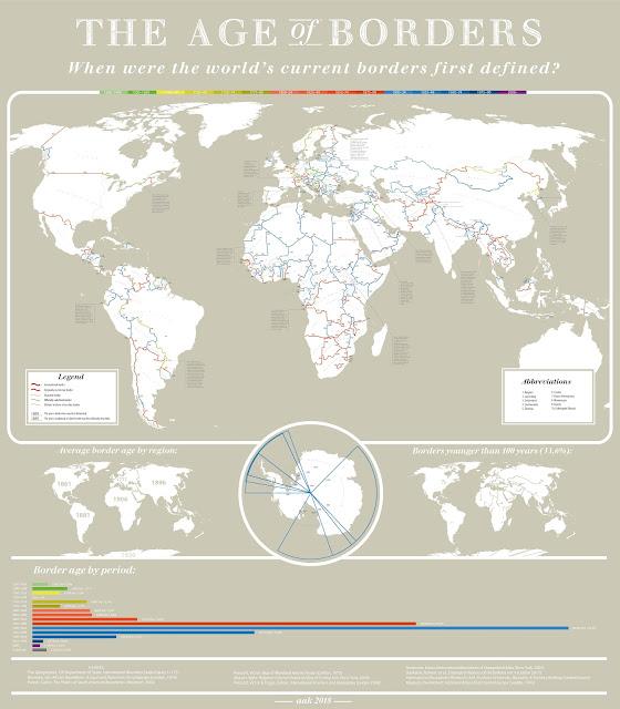 Mapamundi amb la data en que es van fixar les fronteres entre els països