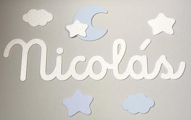 nombre infantil de niño NICOLAS para pegar en la pared , decoración infantil