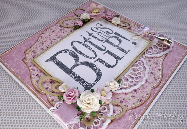 Lilac vintage floral 'bottom's up!' card