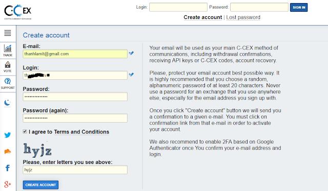tạo tài khoản C-Cex