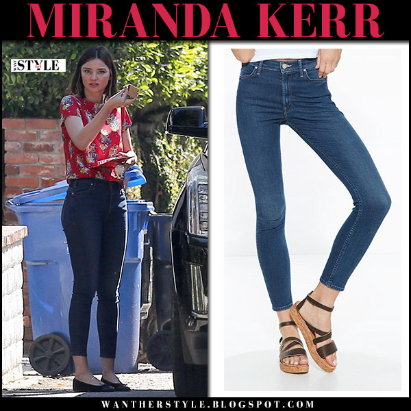 Miranda Kerr in red blouse and blue skinny jeans mother x miranda what she wore model style