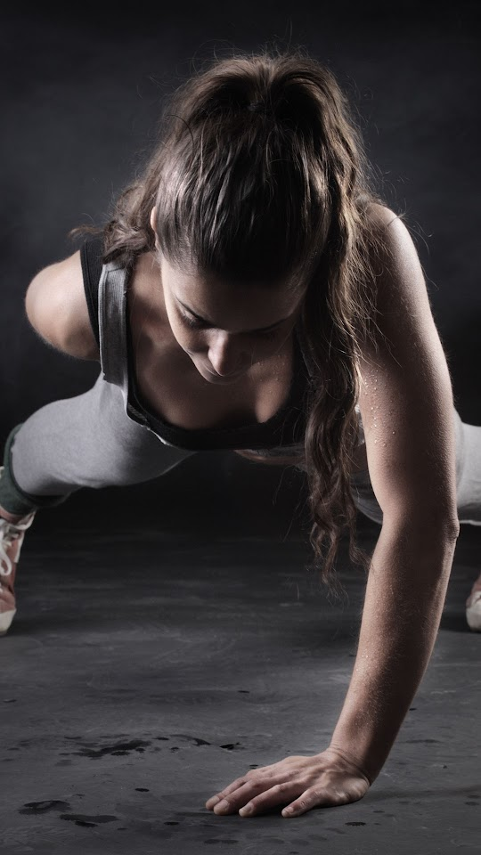 Fitness Girl One Hand Push Up   Galaxy Note HD Wallpaper