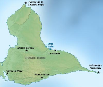 Carte de la Grande Terre en Guadeloupe