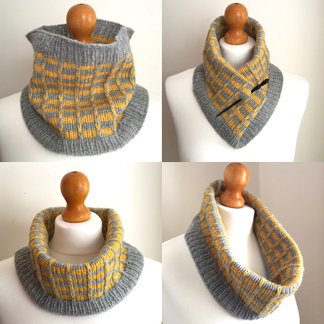 Fittleworth, Cowl, knitting, slipped stitches, stripes, jogless stripes,