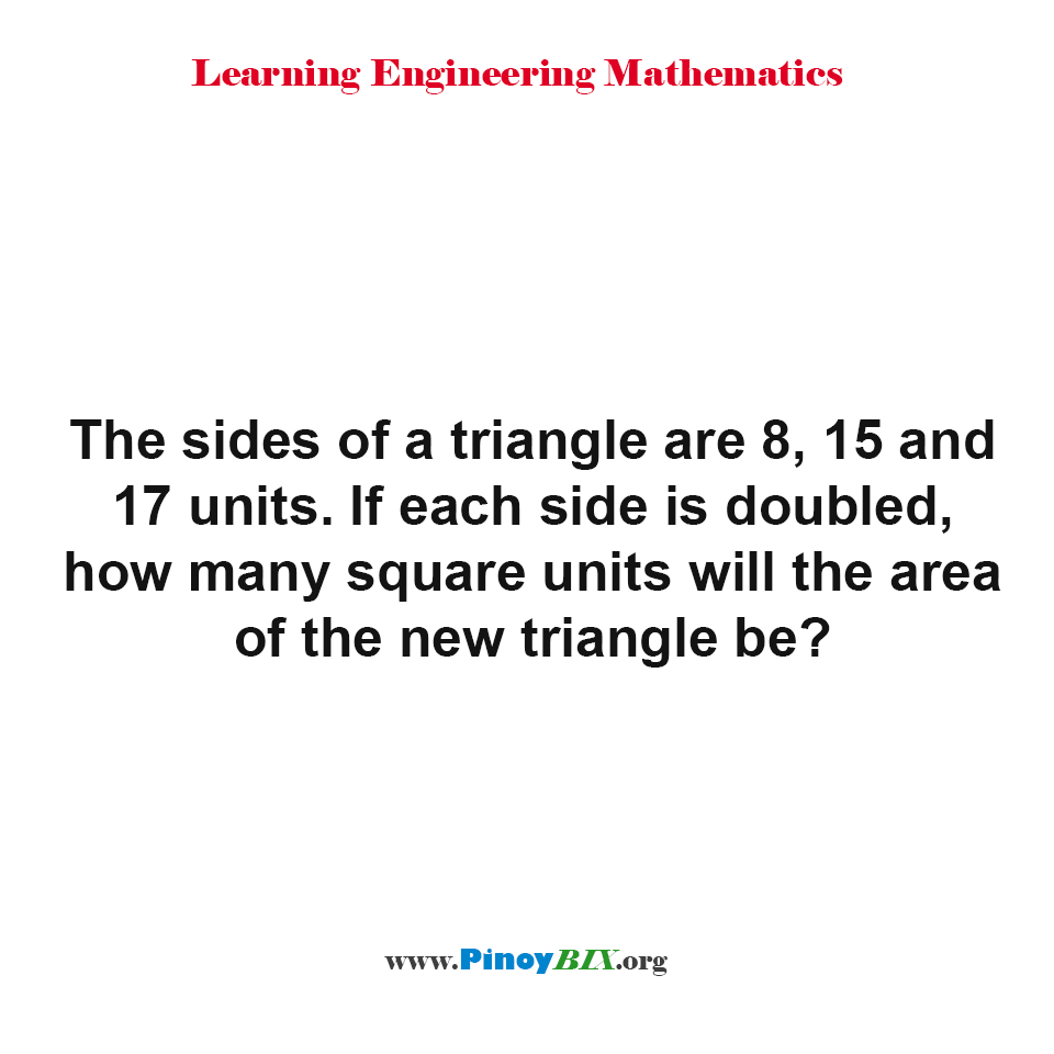 How many square units will the area of the new triangle be?