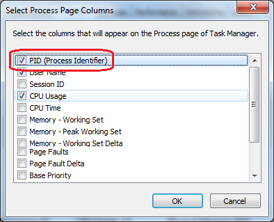Get Process Name from PID using Task Manger