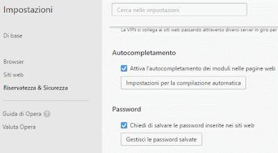 Come eliminare password memorizzate su Opera