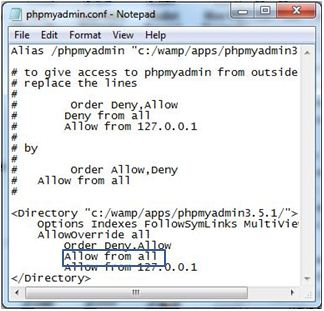 Allow from all You don't have permission to access /phpmyadmin/ on this server WampServer