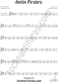 Soprano Sax y Saxo Tenor Partitura de Antón Pirulero Sheet Music for Soprano Sax and Tenor Saxophone Music Scores