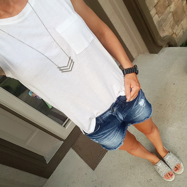Gap Muscle Tank (this year's version) // Kancun Cut Off Denim Shorts via Marshall's (similar) // BP Chevron Necklace (already sold out! - similar for only $4) // Converse Slip On Shoes (similar with close toe) // Target Men's Watch (similar)