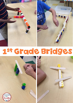 First Grade STEM: You would think that all their bridges would look alike since the materials are so limited. But, they built amazing little bridges with ramps and turns and extras- extras like a team that built a boat to go with their bridge! Check this blog post for more!