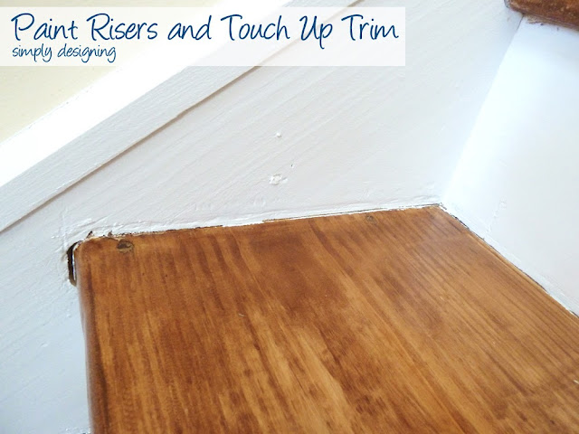 Painting Risers and Trim | step by step instructions on how to rip up carpet and refinish wood stairs, including all the mistakes we made along the way | Simply Designing | #diy #decorating #homedecor #homeimprovement #homeprojects #tutorial #stairs #stain