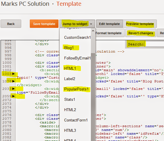 Image of New HTML Template Editor of Blogger