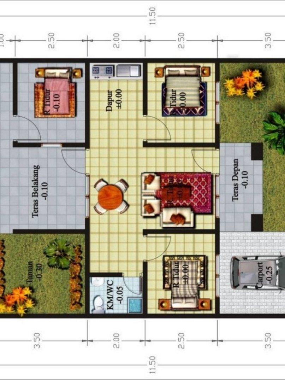 denah rumah 3 kamar 10x15 m yg terbaru