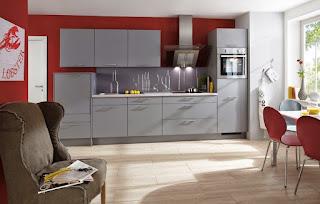 cocina rojo gris