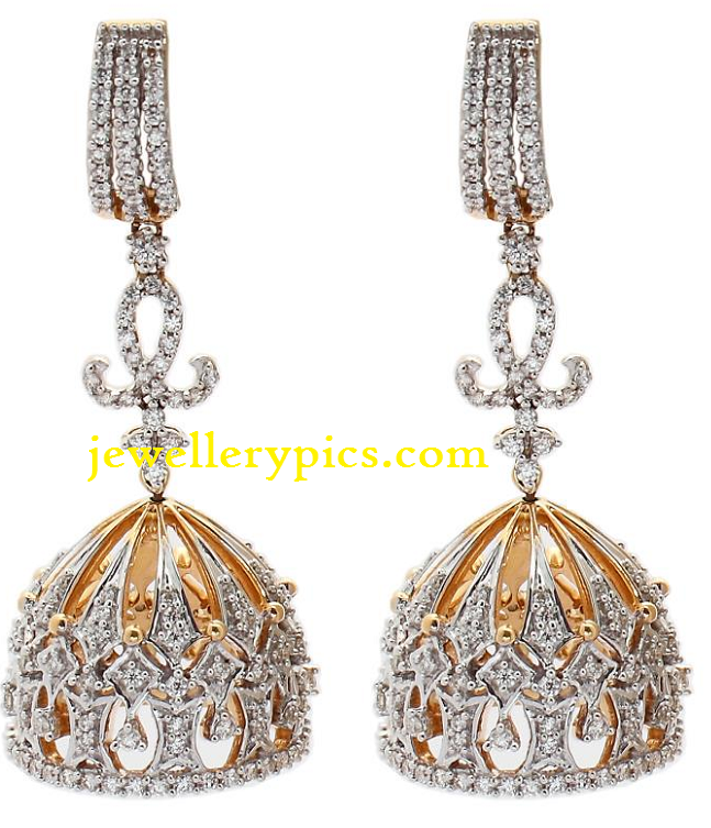 Crafted Diamond Jhumka Designs Latest Jewellery Designs