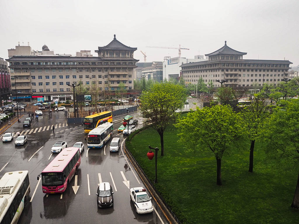 View into Xi'an from City Walls in China