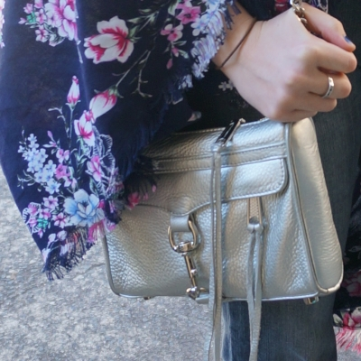 navy floral kimono, Rebecca MInkoff metallic silver mini MAC bag | Away From The Blue