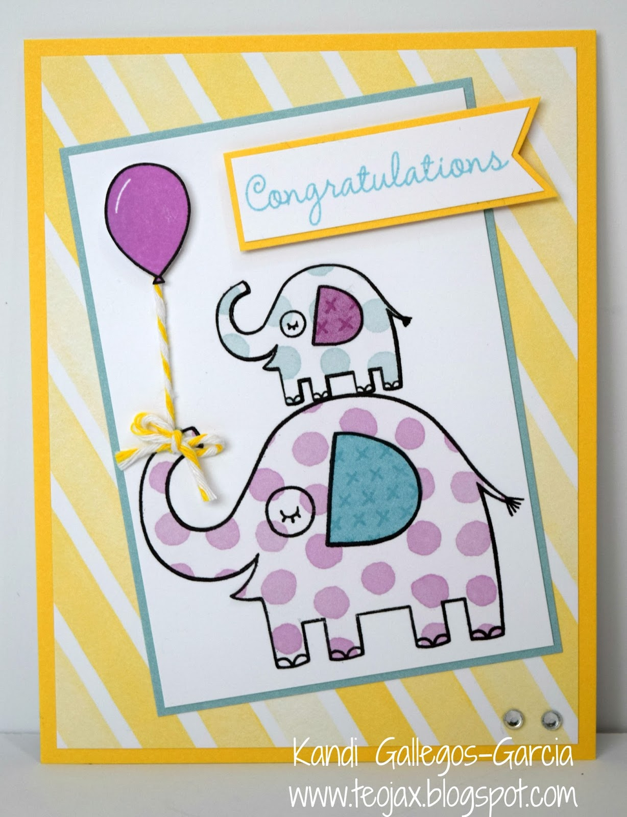 Teojax september 2016 i wanted to do a baby card and i thought these colors would work for boy or girl i loved these little elephants from the baby bundle stamp set as soon as kristyandbryce Image collections