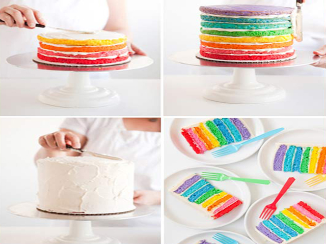 como fazer bolo arco-íris para festas