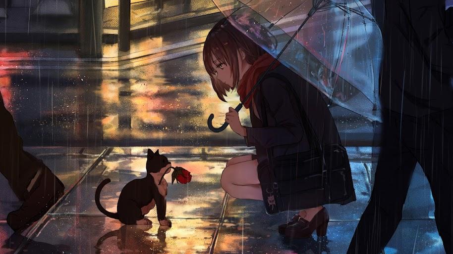 Anime, Girl, Raining, Cat, 4K, #76 Wallpaper