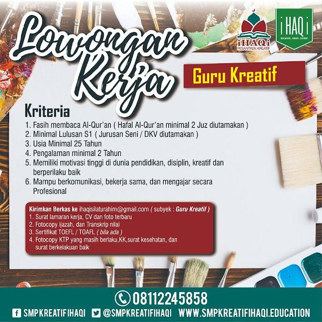 Lowongan Kerja Guru SMP Kreatif iHAQi Bandung