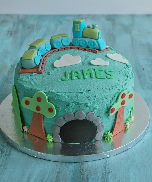 Train cake with buttercream icing and fondant.