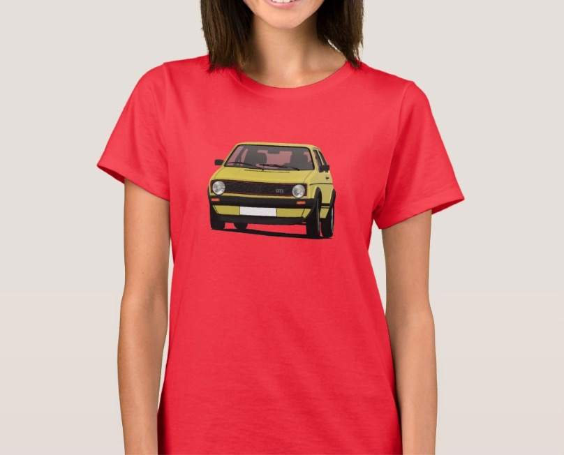 Yellow classic Volkswagen Golf GTI mk1 t-shirt