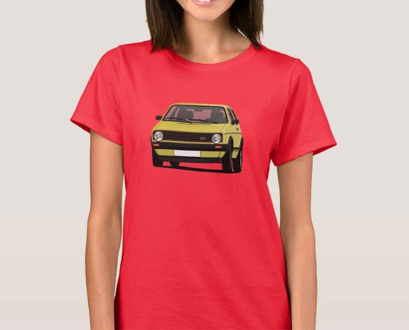 Yellow classic Volkswagen Golf GTI mk1 t-shirt
