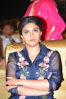 Actress Keerthi Suresh Stills in Blue Long Dress at Nenu Local Audio Launch  0026.JPG