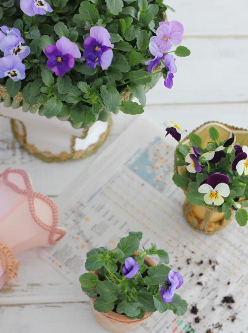 Floral arrangements in vintage lampshades