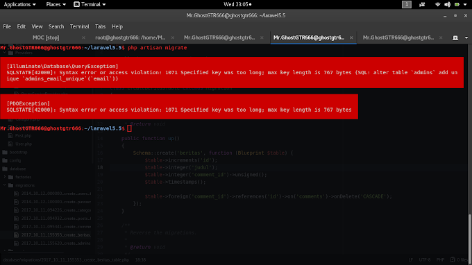 "Mengatasi Error ""SQLSTATE[42000]: Syntax error or access violation: 1071"" di Laravel Framework PHP"