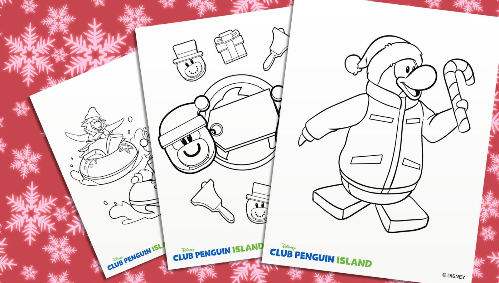 Isla de Club Penguin Time: ¡Páginas Navideñas para Colorear!