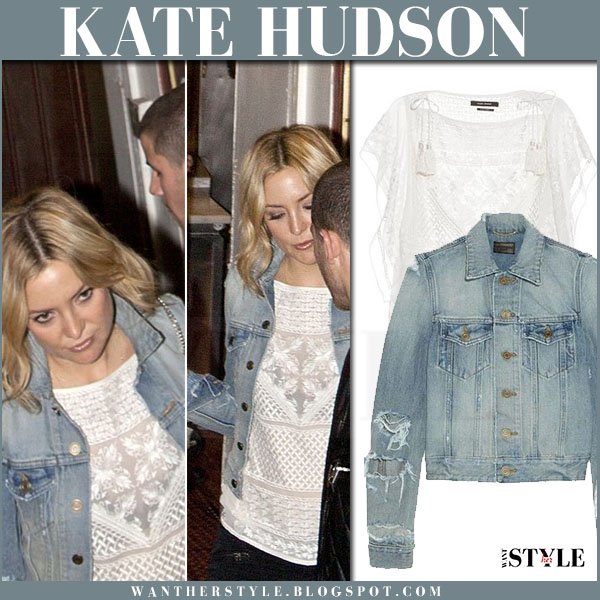 Kate Hudson in light blue denim saint laurent jacket and white isabel marant allen embroidered top what she wore casual outfit