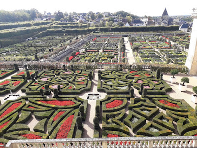 The English  gardens at chateau de Villandry in the Loire Valley