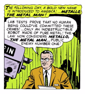 "Action Comics (1938) #252 Page 8 Panel 1: News reports that only a ""robot made of pure metal"" could be responsible for the raids on uranium depots."