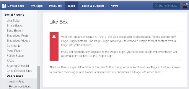 Antes quando queríamos colocar o Box de curtir das Fanpagens do facebook iriamos a pagina do Facebook Developers porém no dia 23 de Junho de 2015 ele passou a ser absoleto