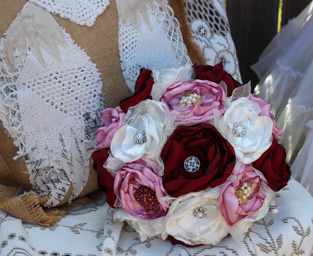 elegant fabric bouquet - burgundy, pink, white