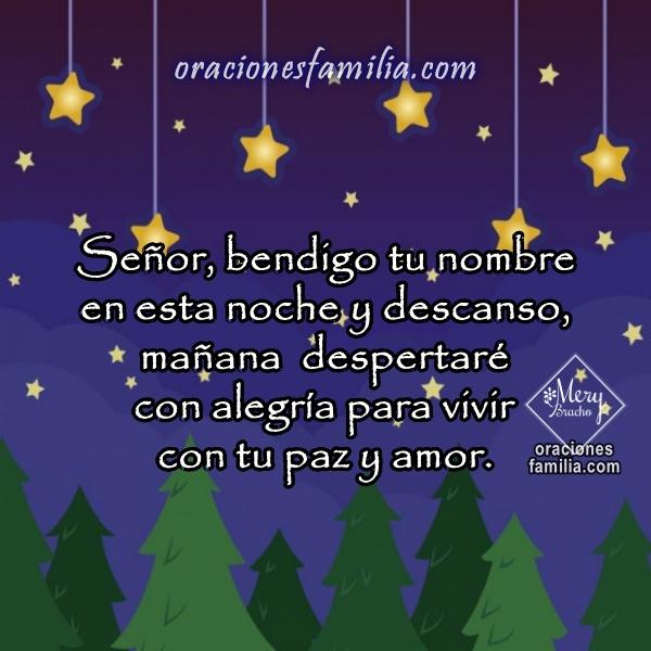 Oraciones cortas con imágenes para la noche, frases cristianas de oración corta, buenas noches con oración bonita por Mery Bracho.
