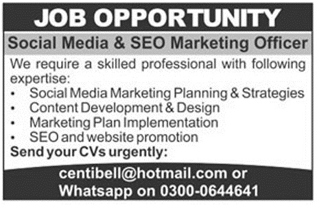 Social Media and SEO Marketing Officer Jobs 2018
