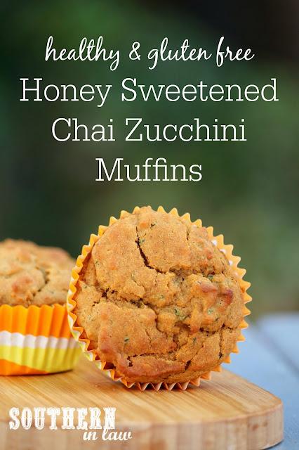 Healthy Honey Sweetened Chai Zucchini Muffins Recipe - low fat, gluten free, healthy, sugar free, clean eating recipe, nut free, kid friendly snacks